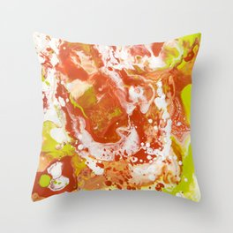 Color Commentary #8: Canteloupe, Honeydew (Bright Yellow Green & Orange) [Marilyn Fenn] Throw Pillow