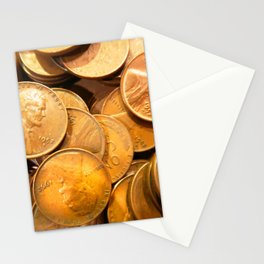 Watercolor Coins, Lincoln Wheat Pennies, 1952 02 Stationery Cards