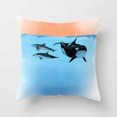 Orca and Dolphin Throw Pillow