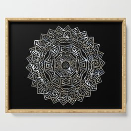 Aztec Mexican Silver Mandala Serving Tray