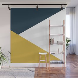 Jag: Minimalist Angled Color Block in Light Mustard, Navy Blue, and White Wall Mural
