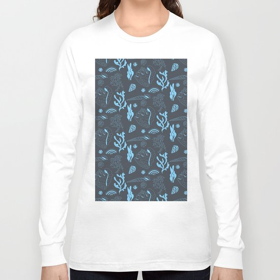 Tropical underwater life pattern in blue Long Sleeve T-shirt
