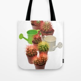 Bunch of multicolor cactuses and watering cans Tote Bag