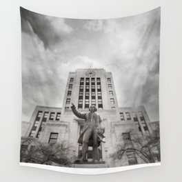 Vancouver RainCity Series - Captain George Vancouver and City Hall, Vancouver, BC Wall Tapestry