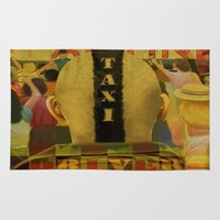 taxi driver Area & Throw Rugs featuring Taxi Driver by David Amblard
