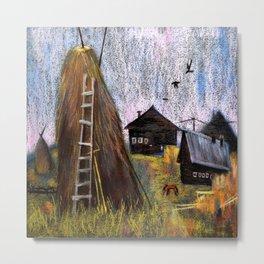 Hay mowing in the village Metal Print
