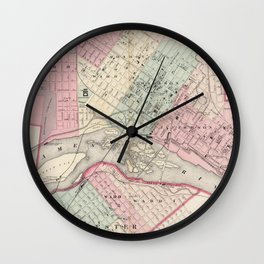 Vintage Map of Richmond VA (1878) Wall Clock