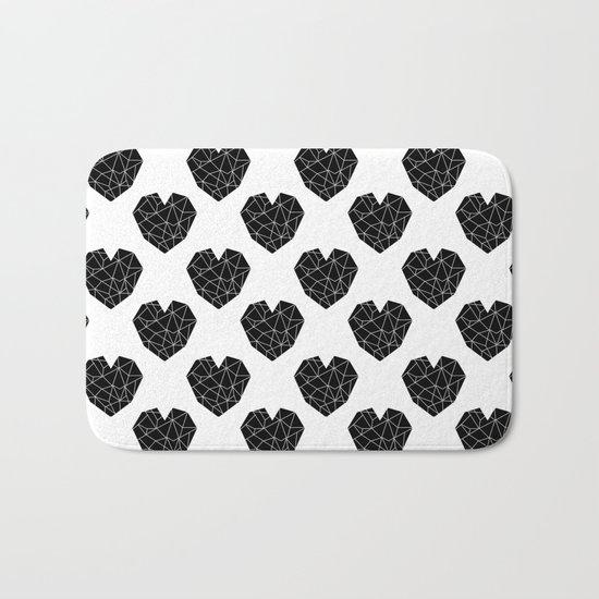 Hearts black and white geometric minimal basic simple design pattern valentines day Bath Mat