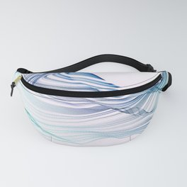 Etherial Wave - blue, mint and pale pink on white Fanny Pack