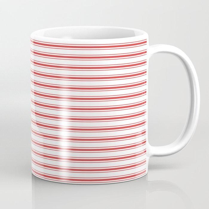 Mattress Ticking Narrow Horizontal Striped Pattern In Red And White Coffee Mug