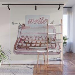 Vintage Typewriter Watercolor - Write III Wall Mural