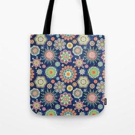 Folky Flora-blue Tote Bag