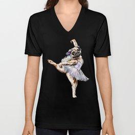 Pug Ballerina in Dog Ballet   Swan Lake  Unisex V-Neck