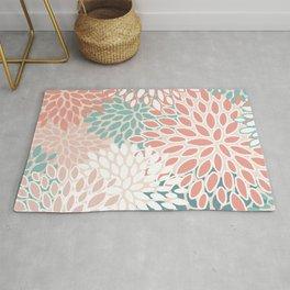 Modern Floral Prints, Teal, Peach, Coral, Abstract Art, Colour Prints Rug