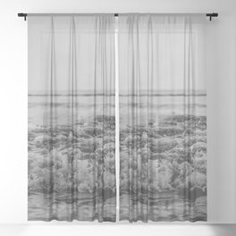Black and White Pacific Ocean Waves Sheer Curtain