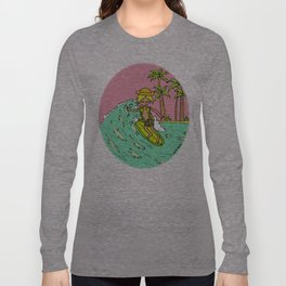 Surf Art Groovy Slides in Paradise by Surfy Birdy Long Sleeve T-shirt