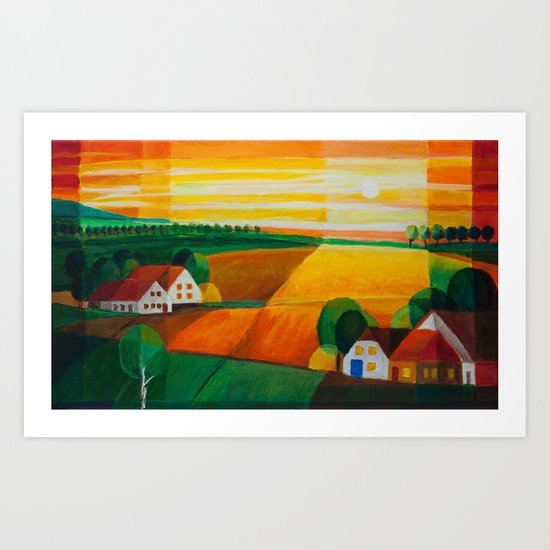 DoroT No 0181–Summer Evening Over Village – Sommerabend über dem Dorf Art Print
