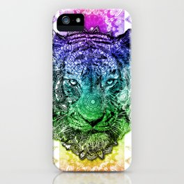 mandala tiger color iPhone Case
