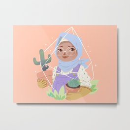 Girl and her Cactus Metal Print