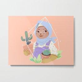 Girl and her Cactus Metal Print