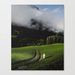 mountains, green, spring, fresh, nature, clouds, photography, art Canvas Print