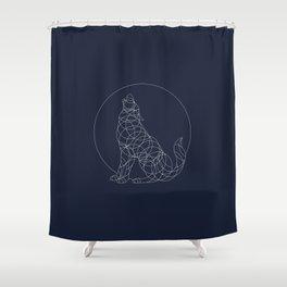 Geo Wolf - white on indigo Shower Curtain