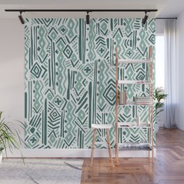 Abstract mauve green teal white tribal pattern Wall Mural