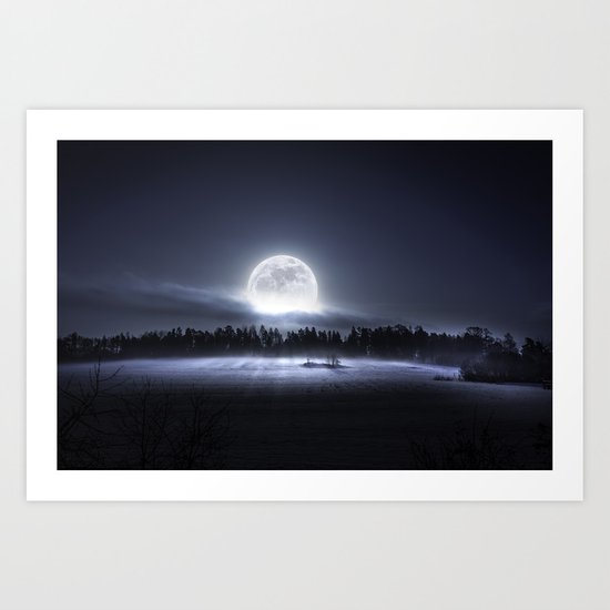 When the moon wakes up Art Print