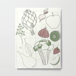 Green Fruits&Vegetables Metal Print