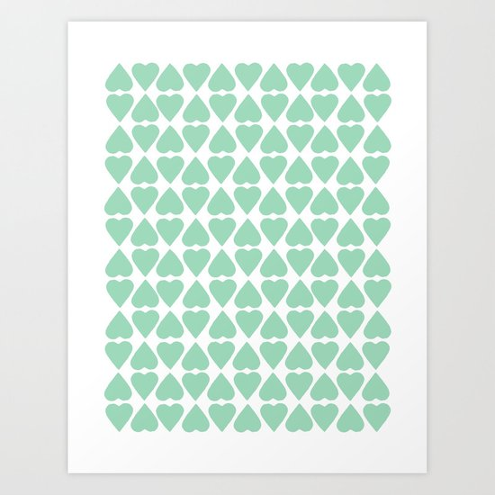 Diamond Hearts Repeat Mint Art Print