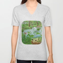 A Day of Forest (4). (the lake ecosystem) Unisex V-Neck