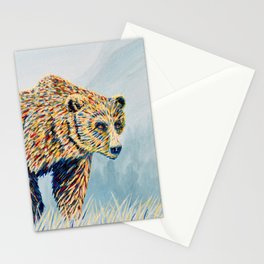 Colorful Bear in the Grass Stationery Cards