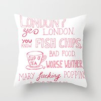 snatch Throw Pillows featuring snatch quote red by Jordan Coombes