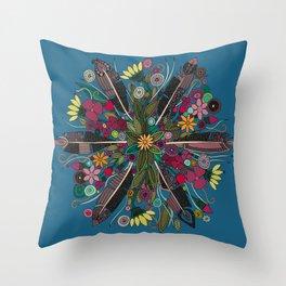 bohemian posy blue Throw Pillow