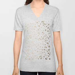 Luxe Gold Painted Dots on White Unisex V-Neck
