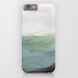 Seafoam Green Mint Black Blush Pink Abstract Nature Land Art Painting Art Print II iPhone Case