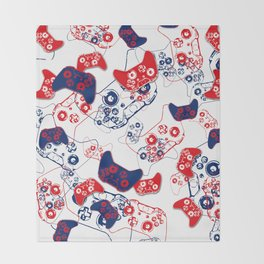Video Game Red White & Blue 3 Throw Blanket