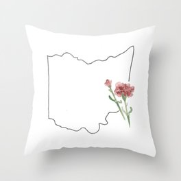 ohio state flower watercolor carnation Throw Pillow