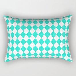 Aqua Gift Box Modern Diamond Pattern Rectangular Pillow