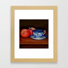 Teacup with Two Apples Framed Art Print