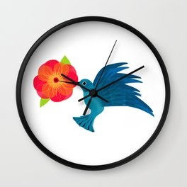 Hummingbird in Flight Wall Clock