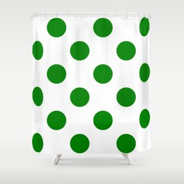 Large Polka Dots - Green on White Shower Curtain
