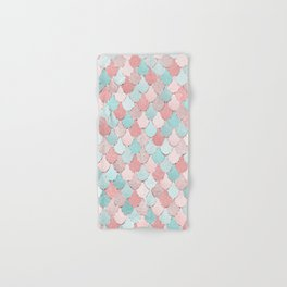 Mermaid Coral, Rose Gold, Pastel Pink, Aqua and Teal, Cute Colorful Pattern Hand & Bath Towel