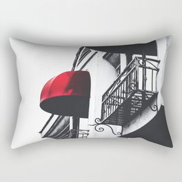 building with porch and red awning in the city Rectangular Pillow