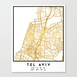 TEL AVIV ISRAEL CITY STREET MAP ART Canvas Print