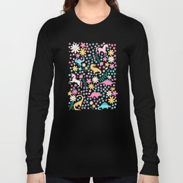 Floral Burst with Dinosaurs + Unicorns in Neon Long Sleeve T-shirt