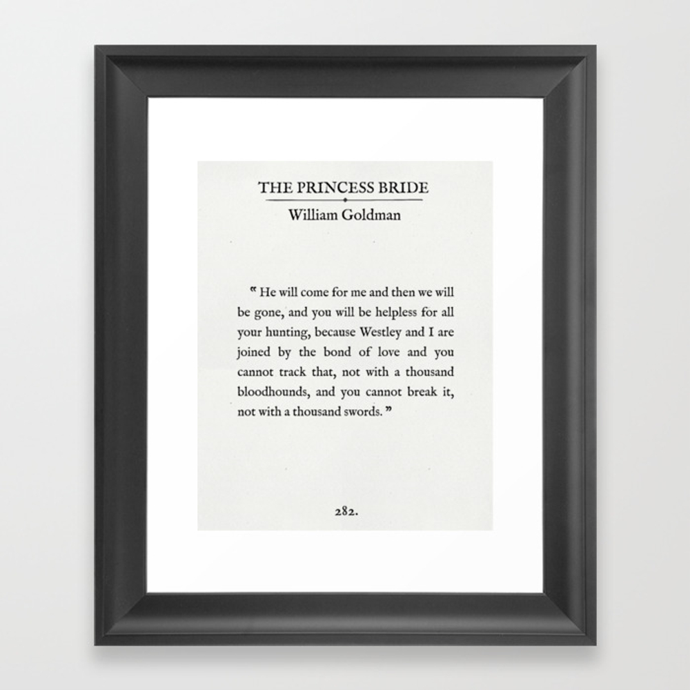 """Book Page - The Princess Bride """"""""the Bond Of Love"""""""" … Framed Art Print by Sycamoreandslate"""" FRM8643626"""