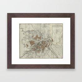 Vintage Map of St Petersburg (1893) Framed Art Print