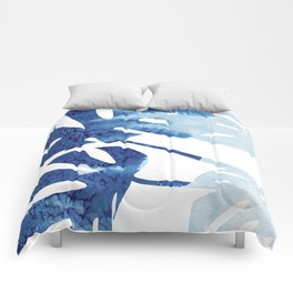 Navy Blue Tropical Leaf Comforters