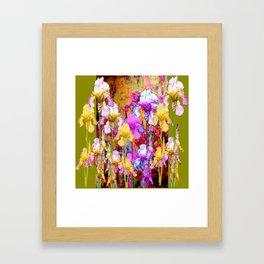 MIXED IRIS FLORAL AVOCADO ART DESIGN Framed Art Print